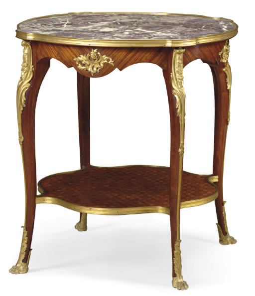 A LOUIS XV STYLE ORMOLU-MOUNTED KINGWOOD AND PARQUETRY OCCASIONAL TABLE