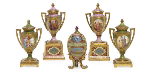 TWO PAIR OF VIENNA STYLE VASES
