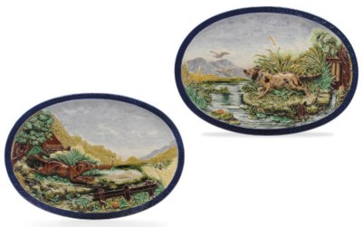 A PAIR OF FRENCH MAJOLICA RELI