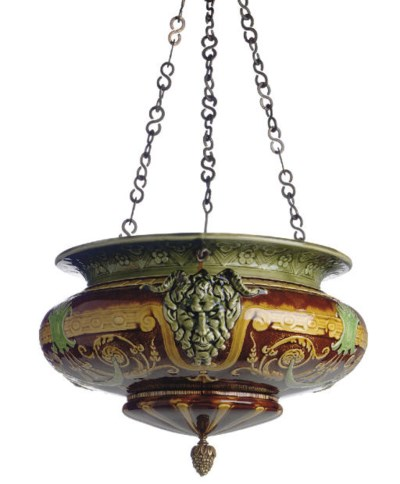 A FRENCH MAJOLICA HANGING JARD