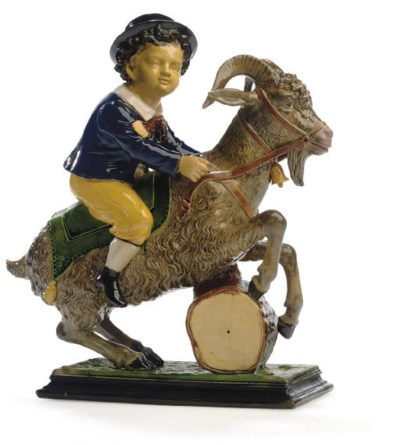 A GERMAN MAJOLICA FIGURAL BOX