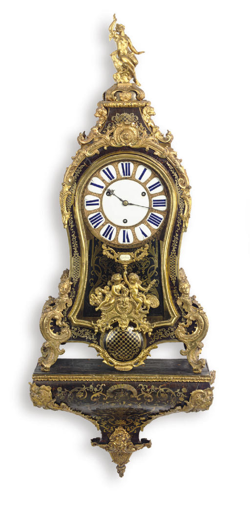 A REGENCE ORMOLU-MOUNTED AND BRASS-INLAID TORTOISESHELL BOULLE MARQUETRY BRACKET CLOCK**