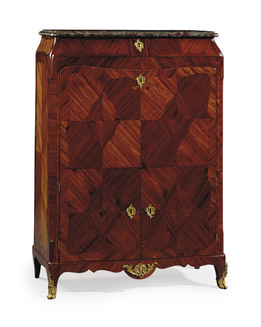 A LATE LOUIS XV ORMOLU-MOUNTED KINGWOOD AND TULIPWOOD SECRETAIRE A ABATTANT