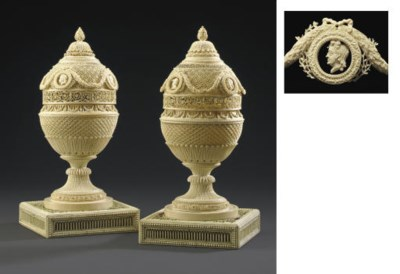 A PAIR OF RUSSIAN IVORY VASES*