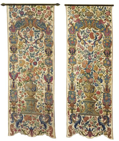A PAIR OF FRENCH NEEDLEWORK WA