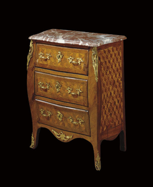 A LOUIS XV ORMOLU-MOUNTED ROSEWOOD, TULIPWOOD AND PARQUETRY COMMODE**