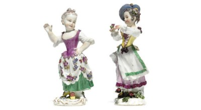 TWO MEISSEN FIGURES LADIES DAN