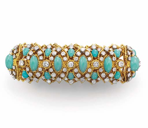 A TURQUOISE, DIAMOND AND GOLD BRACELET, BY VAN CLEEF & ARPELS