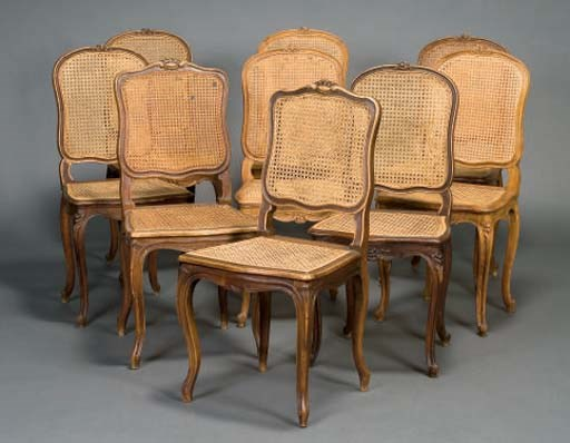 NEUF CHAISES CANNEES DE STYLE