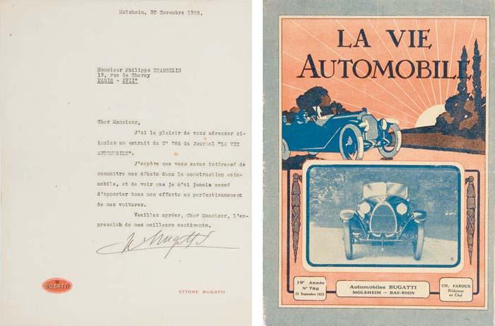 ETANCELIN - Ettore BUGATTI correspondance; une lettre signée et datée du 30 novembre 1923 répondant à une demande d'Etancelin au sujet des produits de la firme; sur papier Bugatti et signée de la main d'Ettore Bugatti; en très bon état avec quelques petits signes d'usure; dont l'exemplaire de La Vie Automobile de septembre 1923; en bon état avec quelques petits signes d'usure.