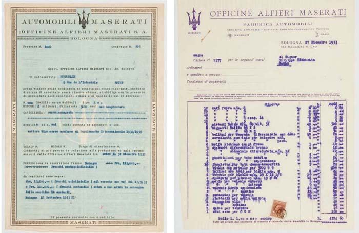 """ETANCELIN - Maserati 8CM - documents se rapportant au châssis 3010; dont l'original de la commande d'Etancelin pour la Maserati 8CM à la carosserie """"corso monoposto"""" """"se conformer aux Règles Internationaux pour 1934/1935"""", pour 115.000 Francs; tapuscrit sur du papier à en-tête pré imprimé; bon état; daté le 18 septembre 1933; dont trois pages de la facture officielle; tapuscrit à l'encre violette sur papier à en-tête Maserati; l'encre étant un peu passée, avec des marques dans le coin supérieur gauche; bon état; daté du 27 décembre 1933."""