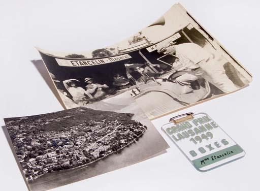 """Grand Prix de Suisse 1949; un laisser-passer stands du Grand Prix de Lausanne 1949 annoté """"Mme. Etancelin""""; [Avec] une photographie de Mme. Etancelin et d'un ami regardant la course depuis les stands de Dieppe en 1934; dont une carte postale et une enveloppe adressée à M. & Mme. Etancelin de la part de Mme. Caracciola (les deux des années 1970)."""
