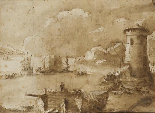 Des voiliers et des barques avec des pêcheurs dans un port près d'une tour (recto); Un intérieur de moulin avec une roue à eau (verso)
