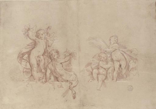 Allégories de l'Été et de l'Automne (recto); Études d'une tête de jeune fille, d'un homme le bras tendu, et deux bras dont l'un tenant une aiguille (verso)