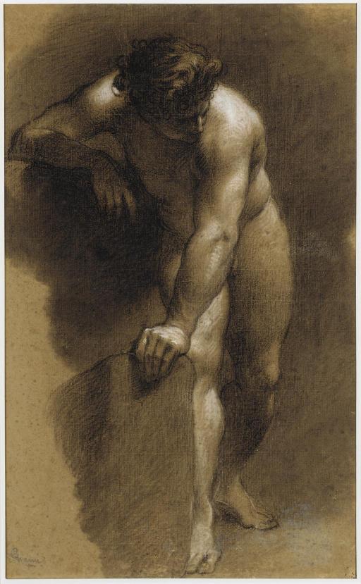 Académie d'homme nu, la main appuyée sur un rocher