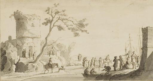 Personnages dans un paysage au bord d'un rivage, des bateaux à l'arrière-plan