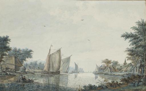 Des voiliers et une barque au bord d'un rivage: vue présumée de Alphen aan den Rijn