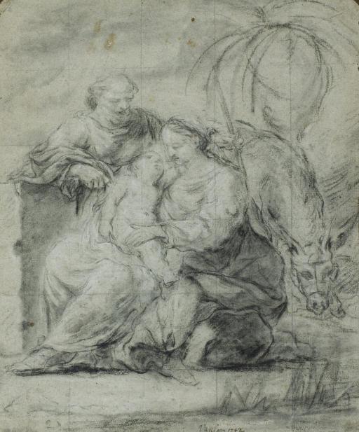 Le repos pendant la Fuite en Egypte (recto); Etude de personnages, deux colonnes cannelées à l'arrière-plan (verso)