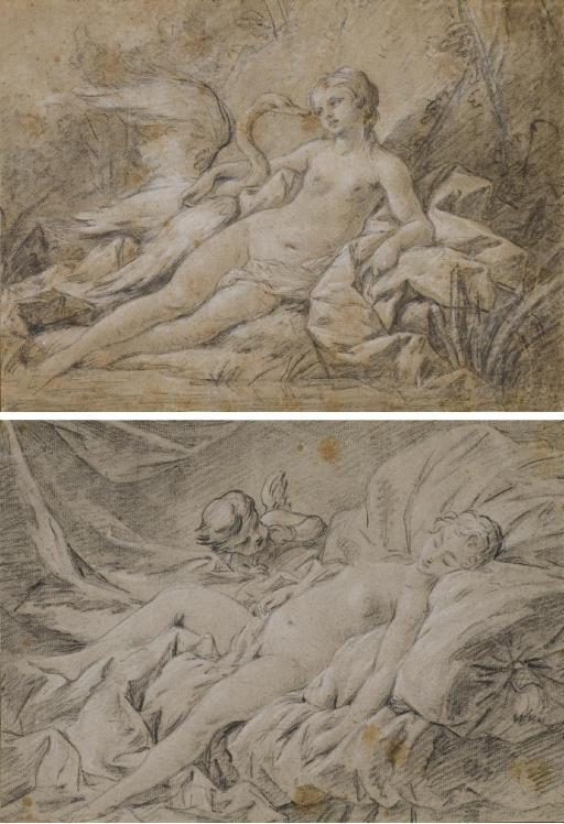 Léda et le cygne (recto), Esquisse d'une tête homme portant un casque (verso); et L'Amour et Psyché