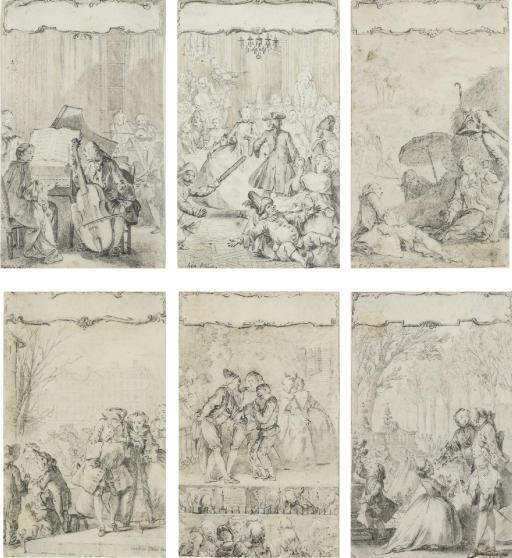 Suite de six dessins représentant des scènes galantes, des acteurs de théâtre ou des mucisiens