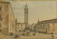 Vue d'une place italienne, une tour à l'arrière-plan