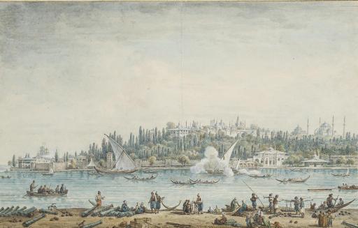 Vue de Constantinople, avec la pointe du Sérail et la basilique Sainte-Sophie à l'arrière-plan
