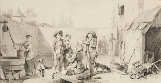 Vue de la cour intérieure d'une maison avec des personnages discutant, une femme puisant de l'eau et un enfant jouant