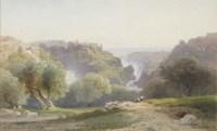 Les chutes de Tivoli, deux personnages assis au premier plan