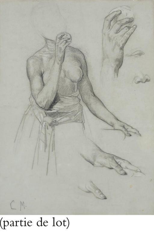 Buste de femme dénudée mangeant un fruit, reprise de ces deux mains