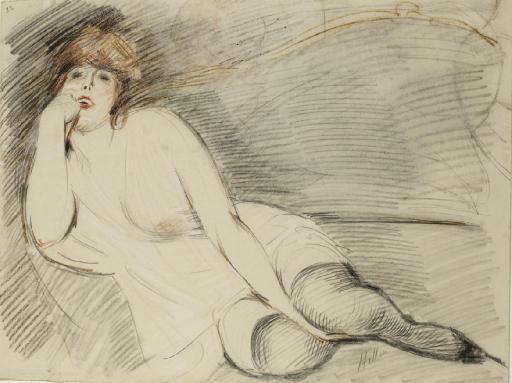 Femme à demi-allongée vue de face (recto) ; Etude d'une femme nue (verso)