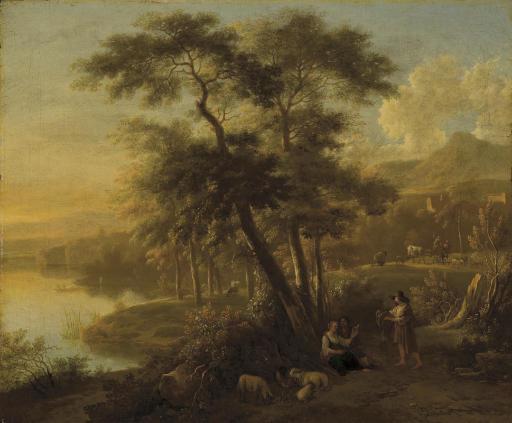 simon mathurin lantara oncy 1729 1778 paris paysage italien avec des promeneurs christie 39 s. Black Bedroom Furniture Sets. Home Design Ideas