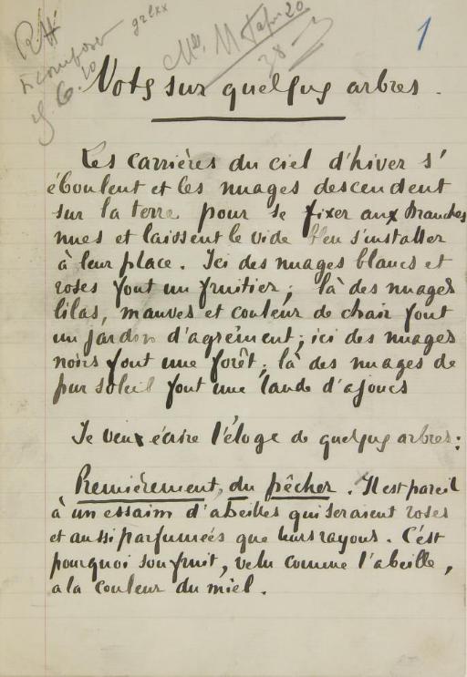 JAMMES, Francis (1868-1938). Notes sur quelques arbres. Manuscrit autographe signé, sans date.