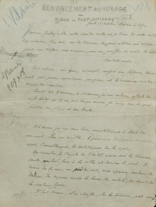 GIDE, André (1869-1951). Le Renoncement au voyage. Manuscrit autographe signé. S.d. [vers 1905].
