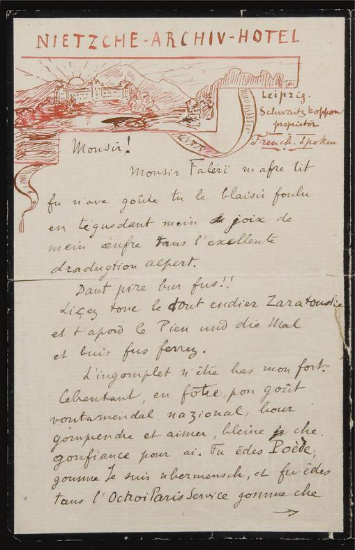 """VALÉRY, Paul (1871-1945). Lettre autographe signée """"F. Niestche"""" adressée à André Fontainas, sans date [juin 1900]."""