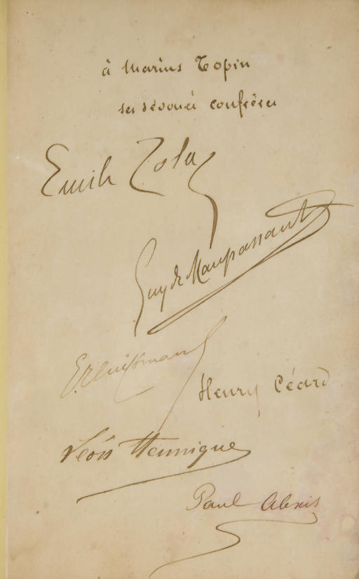 ZOLA, Émile, MAUPASSANT, Guy de, HUYSMANS, Joris-Karl, ALEXIS, Paul, HENNIQUE, Léon, CÉARD, Henry. Les Soirées de Médan. Paris: G. Charpentier, 1880.