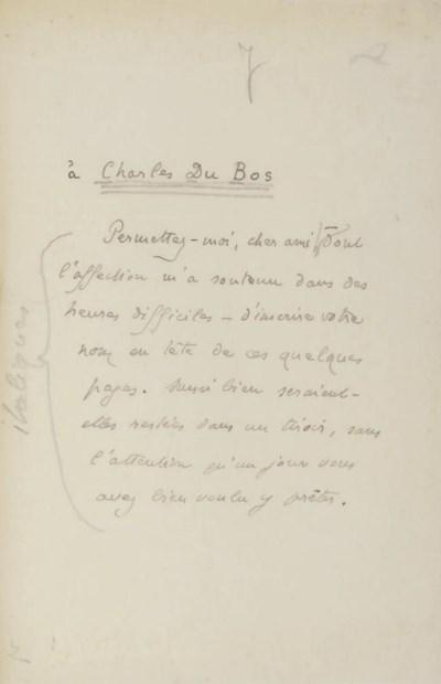 [GIDE, André (1869-1951)]. Épr