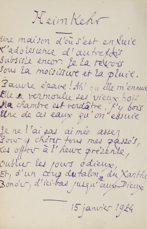 LOUYS, Pierre. Derniers vers. 10 poèmes autographes dont 2 paraphés P.L. et 6 datés entre le 15 janvier et le 11 mars 1924. 10 feuillets (environ 349 x 228 mm ou 310 x 202 mm), encre violette, quelques corrections (marges usées avec quelques déchirures).