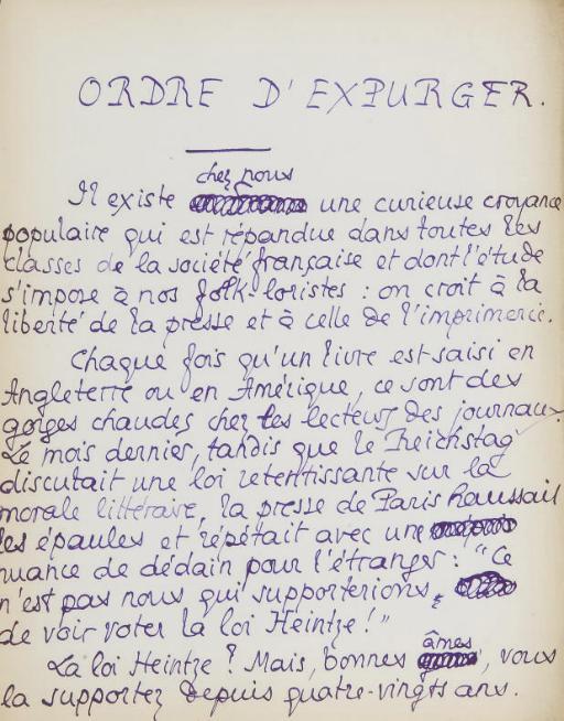 LOUYS, Pierre. Réunion de 7 textes autographes, la plupart inédits. S.d. Encre violette ou brune sur papier in-8 ou in-12, certains avec corrections.