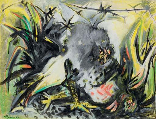 Combat de coqs (aux plumes multicolores)