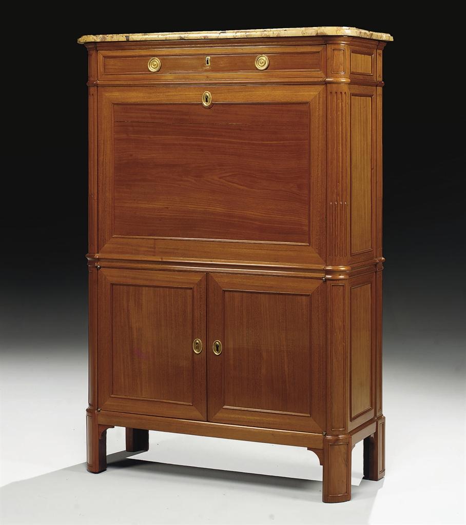 secretaire a abattant d 39 epoque louis xvi estampille de conrad mauter et antoine gosselin. Black Bedroom Furniture Sets. Home Design Ideas