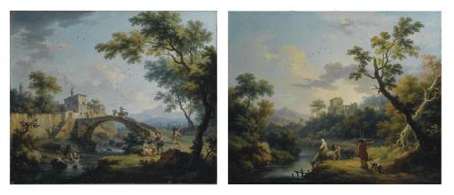 Paesaggio fluviale con ponte e viandanti; e Paesaggio fluviale con viandanti