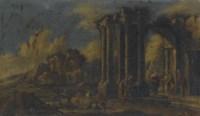 Paesaggio con capriccio di rovine e la Visitazione