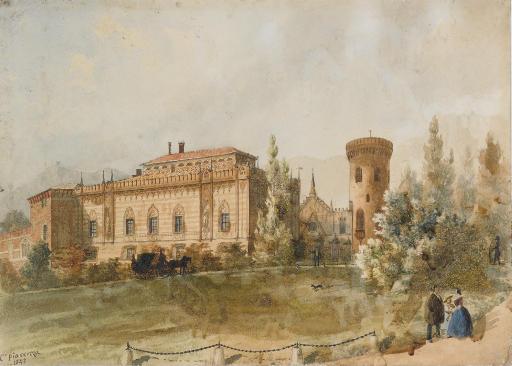 Il castello di Envie con figure