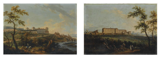 Veduta del Castello di Mirafiori dalla parte di Stupinigi con parata militare; e Veduta del Castello Reale a Moncalieri con viandanti