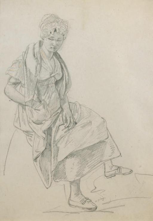 Paysanne assise sur une pierre