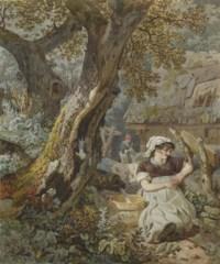 Jeune paysanne assise sous un arbre