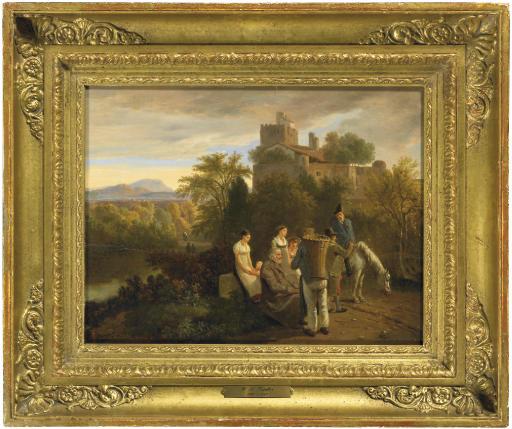 Paysage avec huit personnages et un cheval, 1819