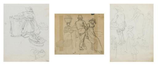 Sammelnummer von drei Figurenstudien beim Markt