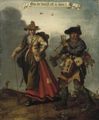 A male and female pedlar on a track: an Allegory of Greed