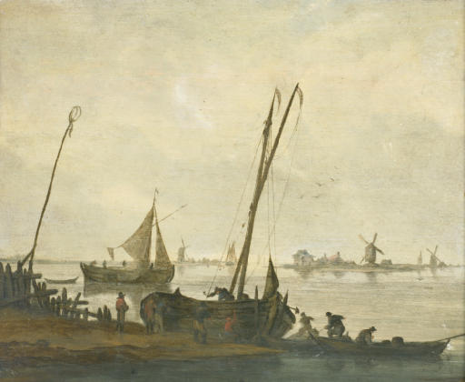 Fishermen mooring their boats on the bank of a river, a sailing boat and a river bank with windmills beyond